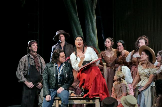 Anna Netrebko and Matthew Polenzani in Act I of L'Elisir d'Amore. PHOTO: Ken Howard/Metropolitan Opera