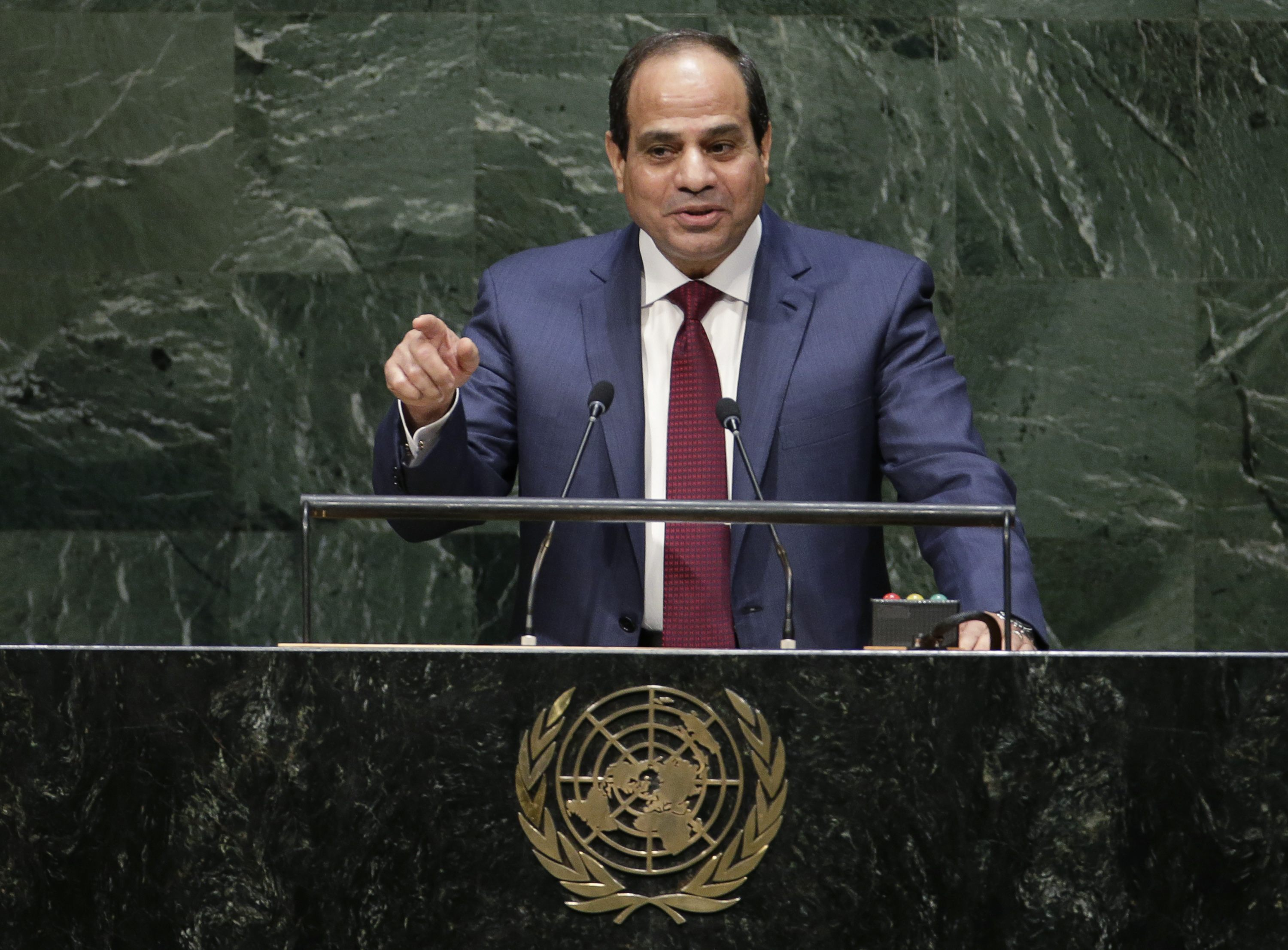 Egypt's President Abdel Fattah al-Sisi addresses the 69th United Nations General Assembly at U.N. headquarters in New York, September 24, 2014. REUTERS/Mike Segar (UNITED STATES - Tags: POLITICS)