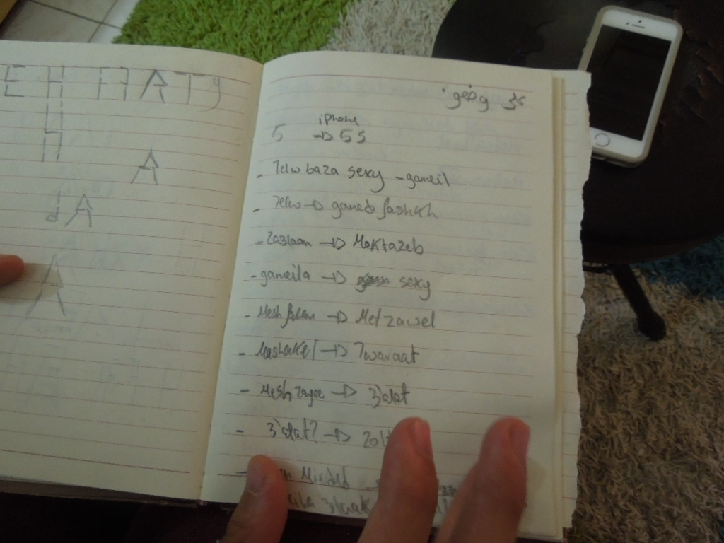 Abdoul's notebook where he jots down the random ideas that are later presented in his videos