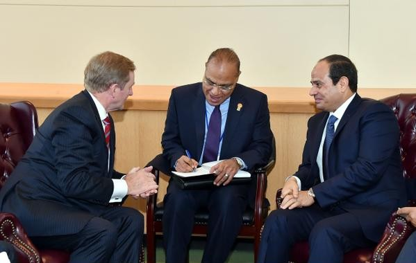 Irish Prime Minister Enda Kenny (left) with Egyptian President Abdel Fattah El Sisi (right) in New York City.