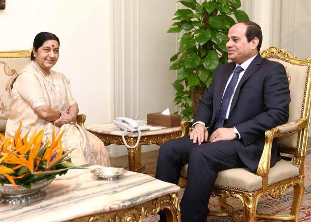 External Affairs Minister Sushma Swaraj with President Abdel Fattah Al Sisi of Egypt at a meeting in Cairo. Credit: PTI