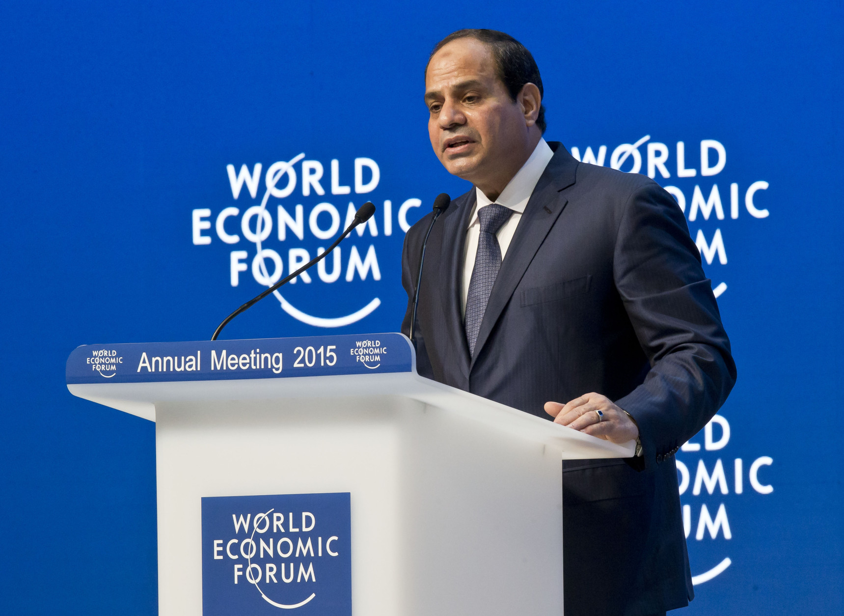 "Egyptian President Abdel-Fattah El-Sisi speaking during the panel ""Egypt in the World"" at the World Economic Forum in Davos, Switzerland, Thursday, Jan. 22, 2015. (AP Photo/Michel Euler)"