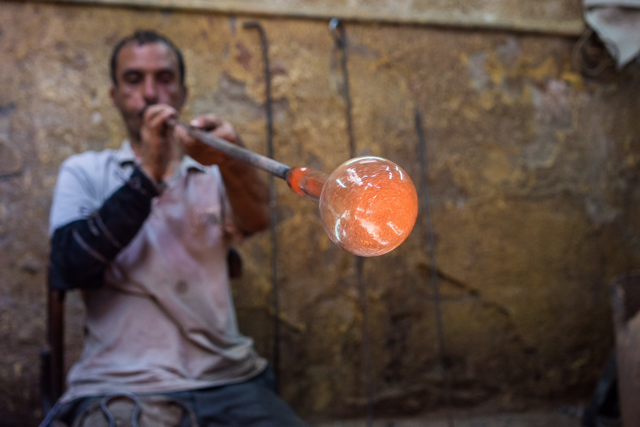 Besides Hassan, Ahmed is the main glassblower at Hodhod's workshop