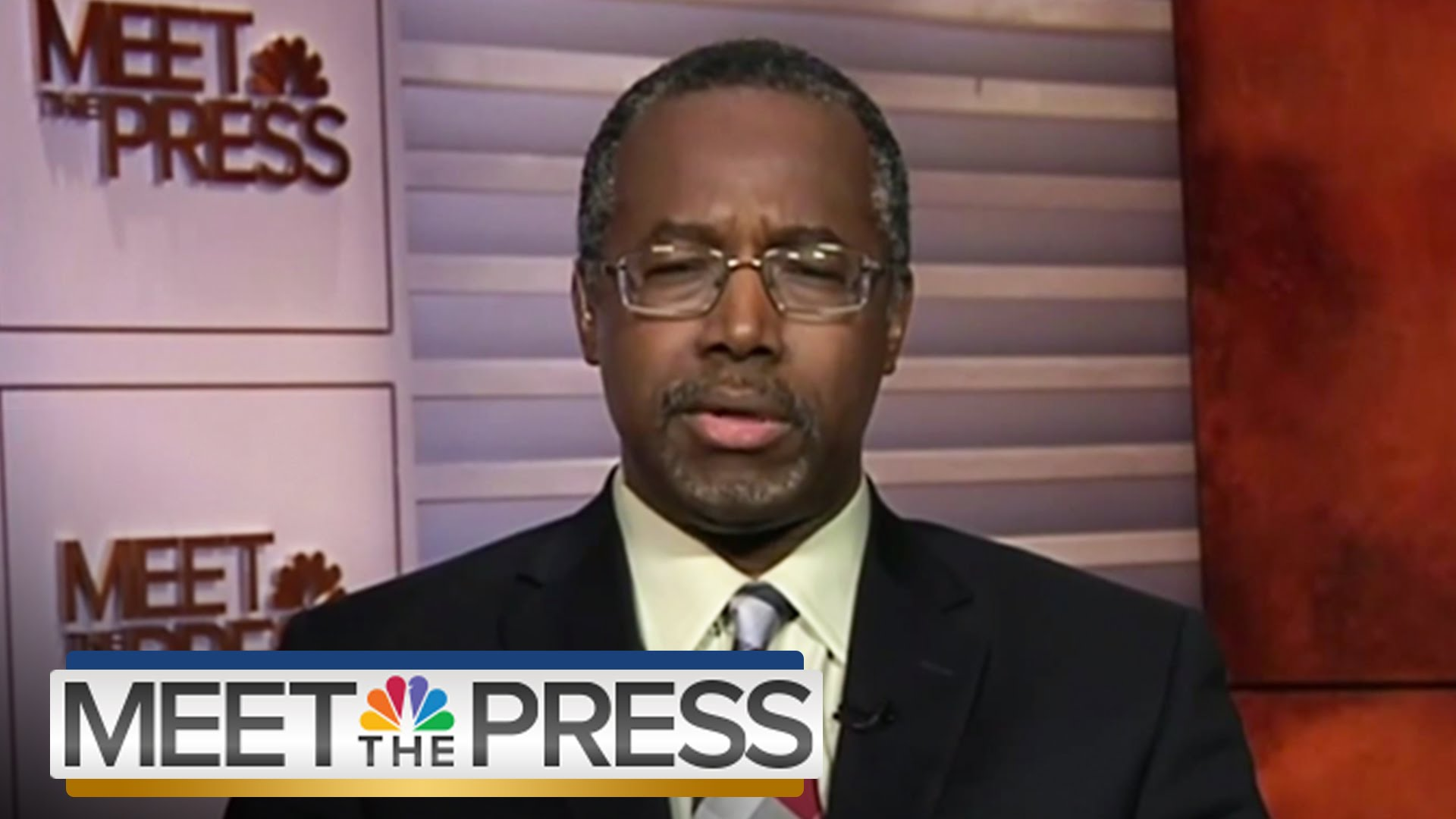 Republican presidential candidate Dr. Ben Carson on NBC's Meet The Press. Photograph: NBC News