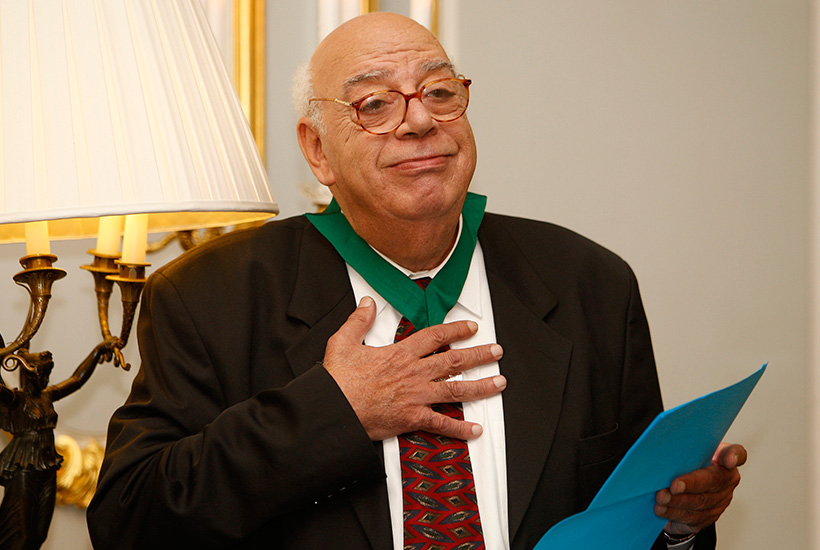 Egyptian playwright Ali Salem receiving the Civil Courage Prize in London, 2008. PHOTO: Kirsty Wigglesworth, Associated Press.