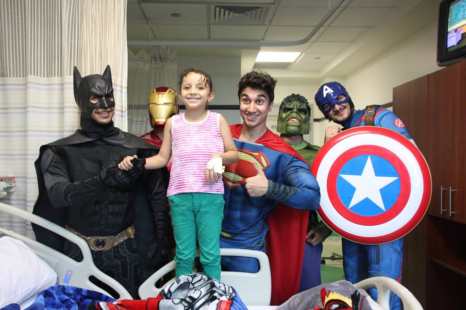 Superheroes during a visit at the 57357 Children's Cancer Hospital in Egypt. Source: 57357 Facebook page