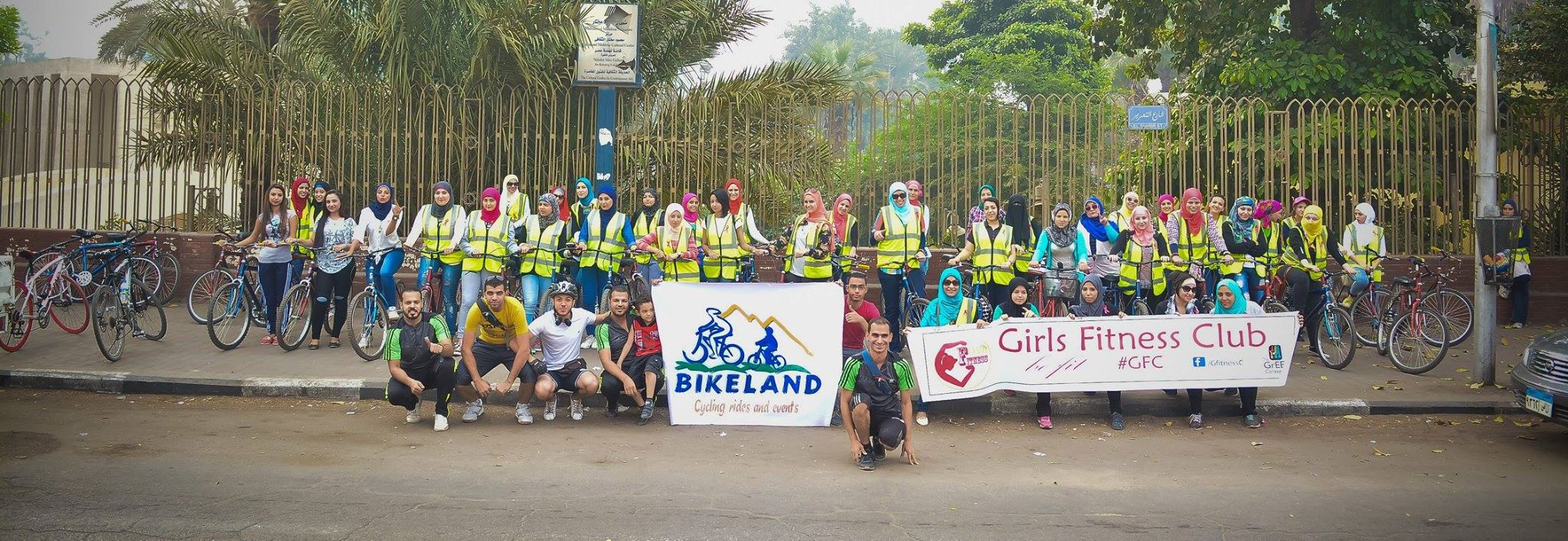 Egyptian women cycled through 13.6 kms to raise awareness about breast cancer. Courtesy of Bike Land