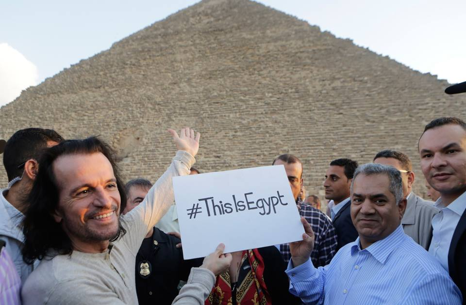 Greek musician Yiannis Hrysomallis, who goes by the stage name Yanni, visits the Giza Pyramids prior the his much anticipated concert on October 30 and 31. Credit: AP