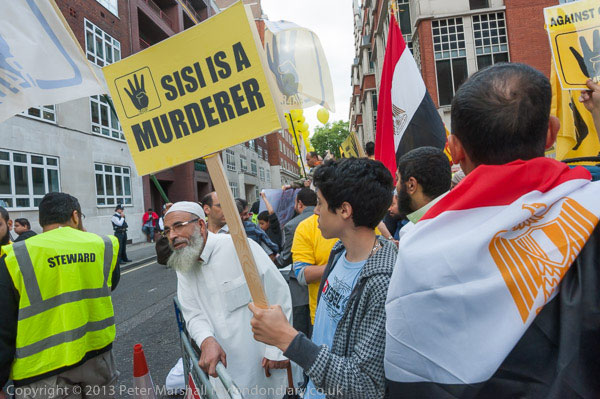 Anti-Sisi protestors in London. PHOTO: Peter Marshall/MyLondonDiary
