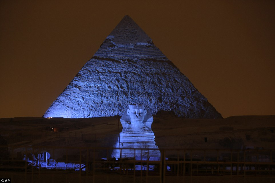 The Sphinx and the three Pyramids of Giza were lit in blue among more than 200 landmarks around the world in celebration of the UN's 70th anniversary. Credit: Amr Nabil/ AP