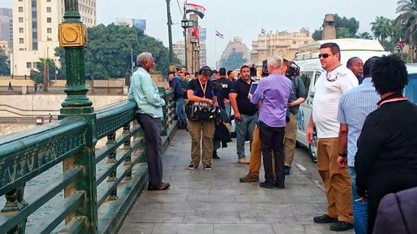 Hollywood icon Morgan Freeman seen on Qasr el-Nil bridge near Tahrir Square