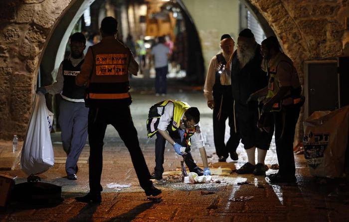 Scene where two Israelis were killed in the Old City, EPA/ABIR SULTAN