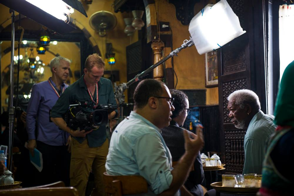 Morgan Freeman at Fishawys in Khan El Khalili Credit: Natasha Wheatley