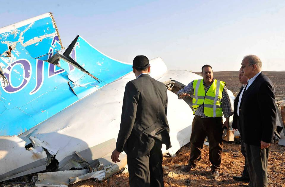 Part of the Russian airplane that crashed in Egypt`s North Sinai being inspected by Prime Minister Sherif Ismail. Credit: AP