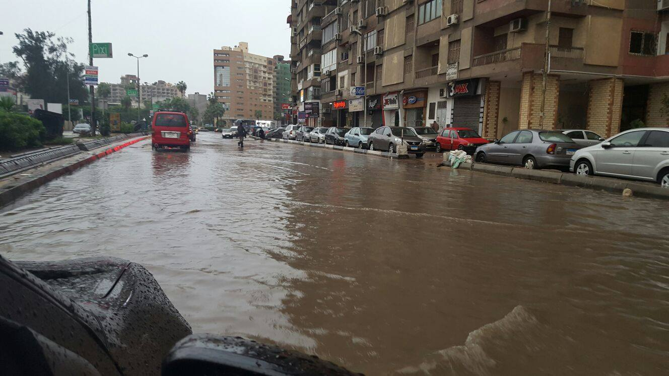 View of a street in Alexandria flooded with accumulated rainwater. Photo: Reem Sami Abul Enain