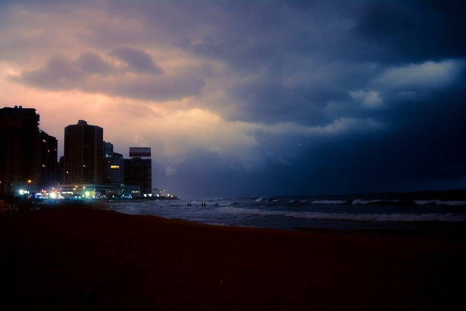 Alexandria's skies filled with dark clouds at sunrise. Photo: Mohamed Hakim