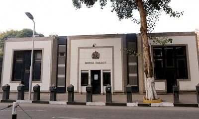 The British Embassy in Cairo. Photo: Khaled ElFiqi (EPA)