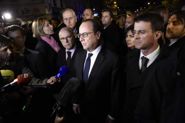 French President Hollande outside Bataclan Theater