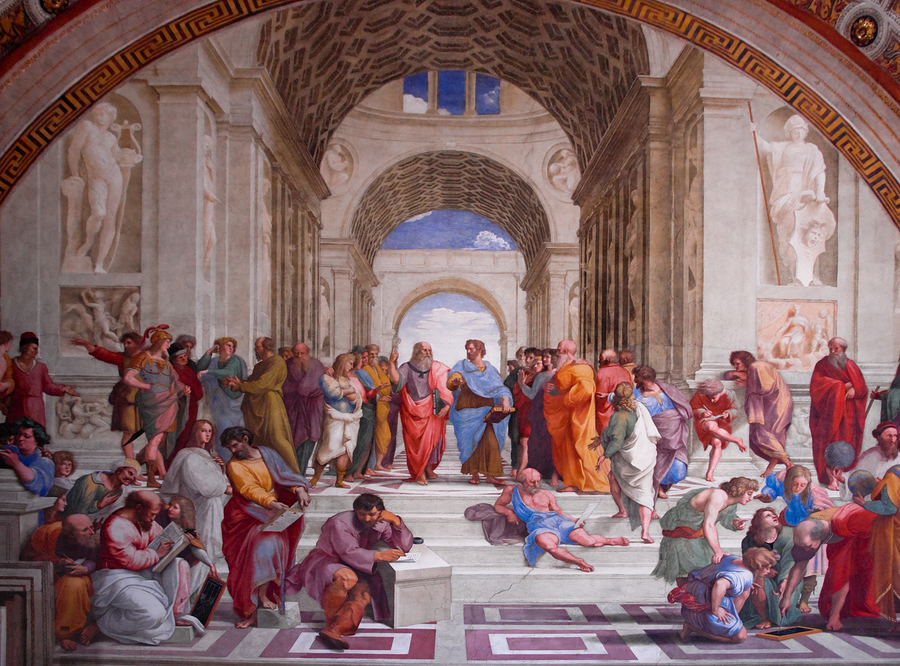 The School of Athens, one of the most famous frescoes by the Italian Renaissance artist Raphael, showing Aristotle and Plato at the center of the piece.