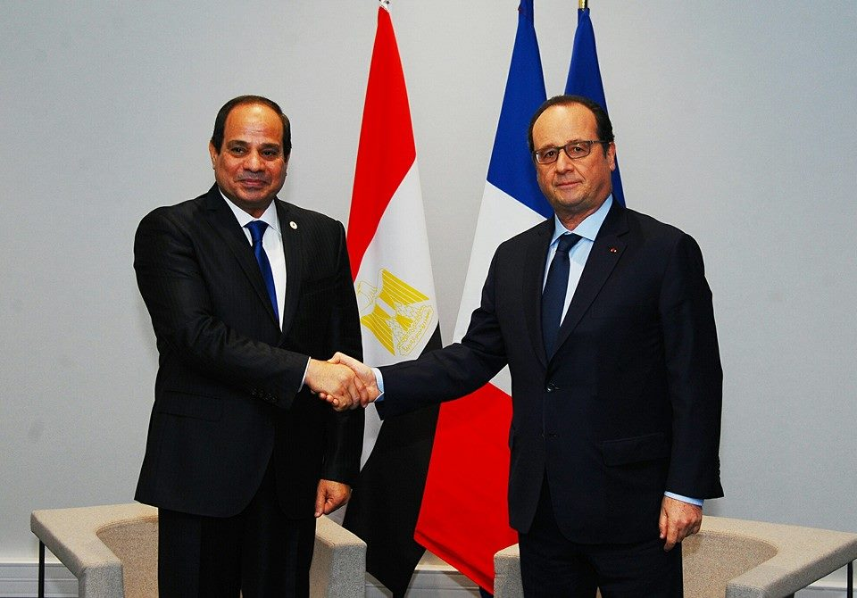 Egypt's President Sisi meets with French President Hollande in Paris.