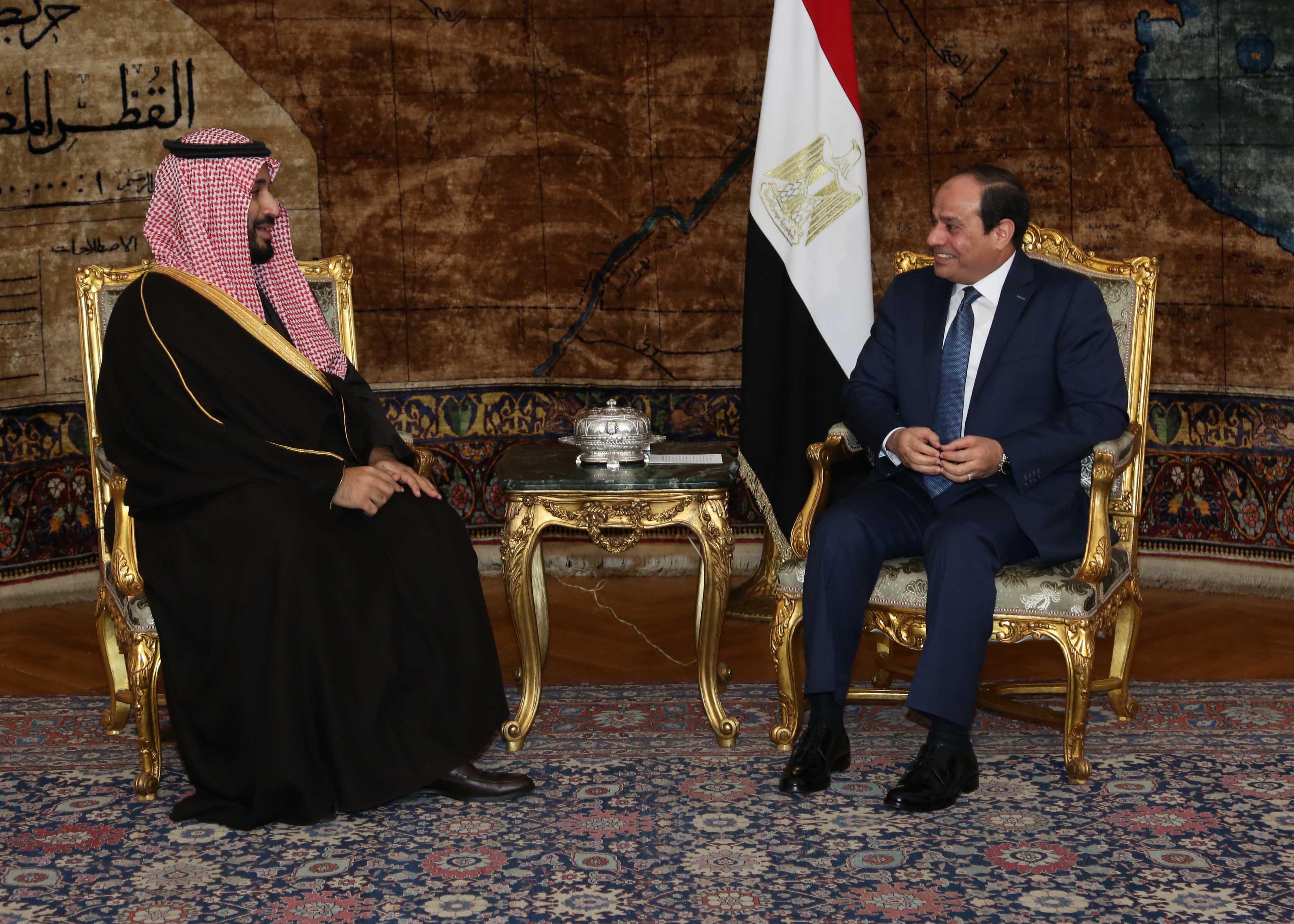 President Abdel Fattah al-Sisi with Saudi Crown Prince Mohamed bin Salman bin Abdel Aziz, Dec. 15, 2015. Presidency Handout.