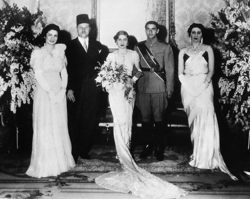 The wedding group after the signing of the marriage contract. Left to right: Queen Farida and King Farouk of Egypt; Princess Fawzia and Crown Prince Mohamed, and Queen Mother Nazli. March 30, 1939 Cairo, Egypt