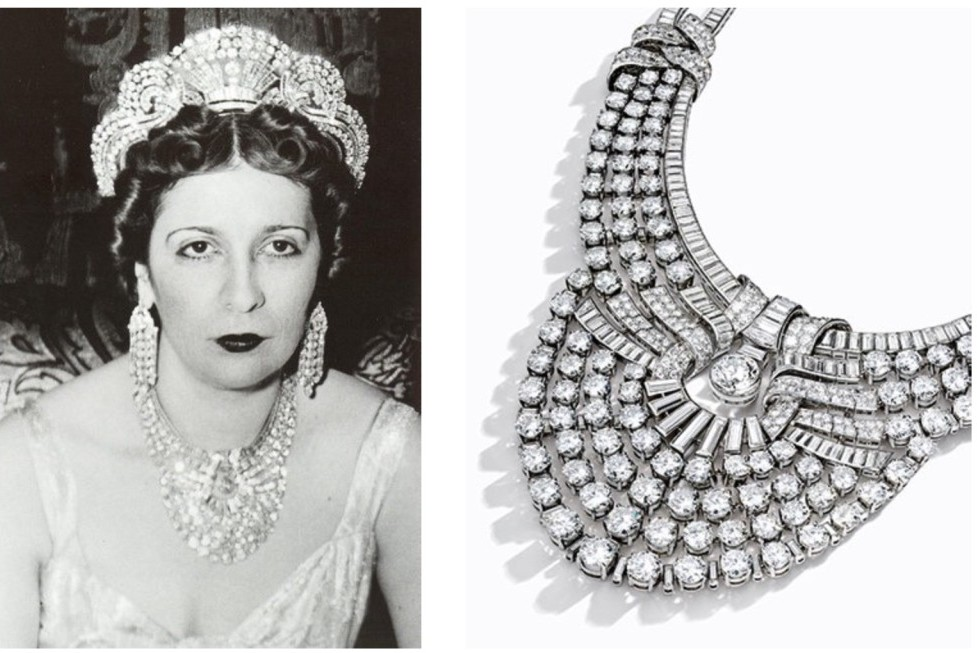 Queen Nazli of Egypt and her diamond necklace recently sold in NY