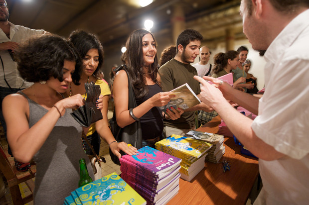 Samandal fans line up to purchase their copies at the launch of Samandal issue 5 in Beirut