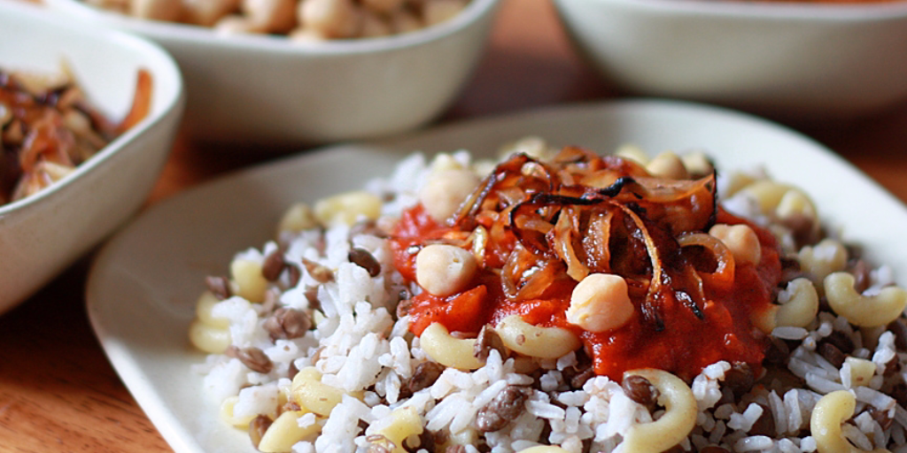 Egypt's 'national dish,' Koshari, is vegetarian. Credit: The Daring Gourmet