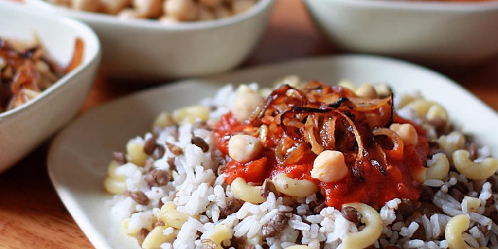 Egypt's 'national dish,' Koshari, is vegetarian. Credit: The Daring Gourmet