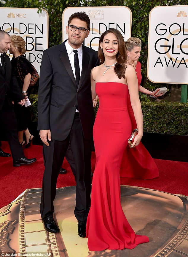 Sam Esmail and Emily Rossum on the red carpet.