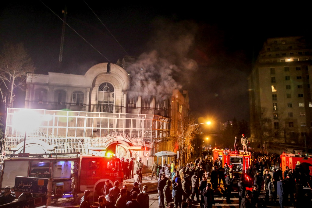 Saudi Arabia's Embassy in Iran after protesters stormed the premises and set it on fire.