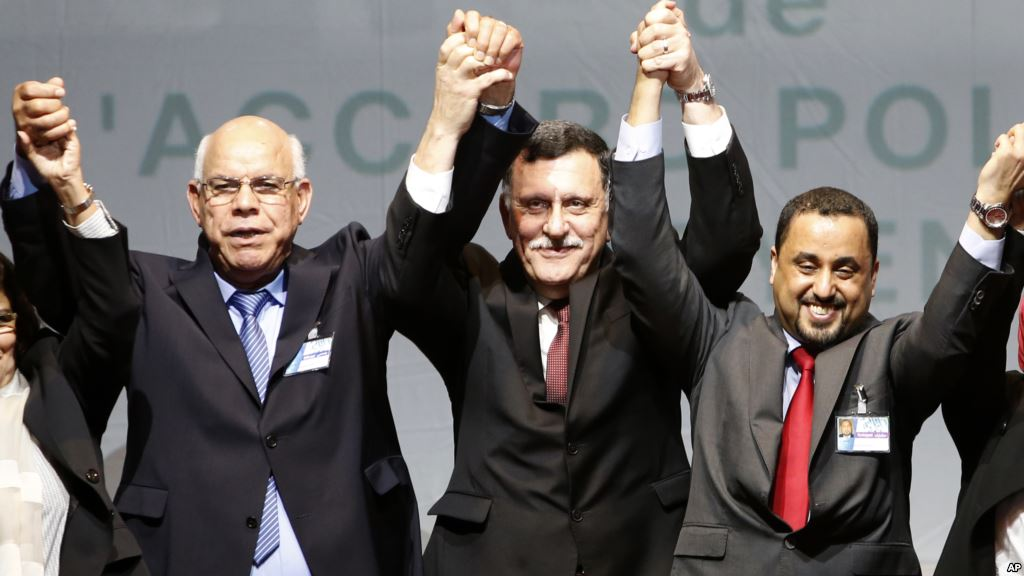 Libyan representatives from rival factions, left to right, Mohammed Chouaib, Fayez Sarraj, and Dr. Saleh Almkhozom. Credit: AP