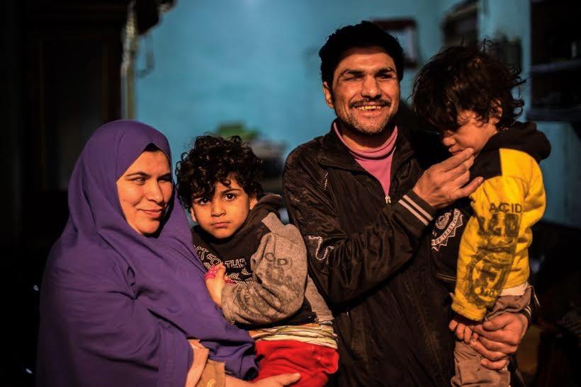 Heba, Samir and their twin sons. Credit: Asmaa Gamal