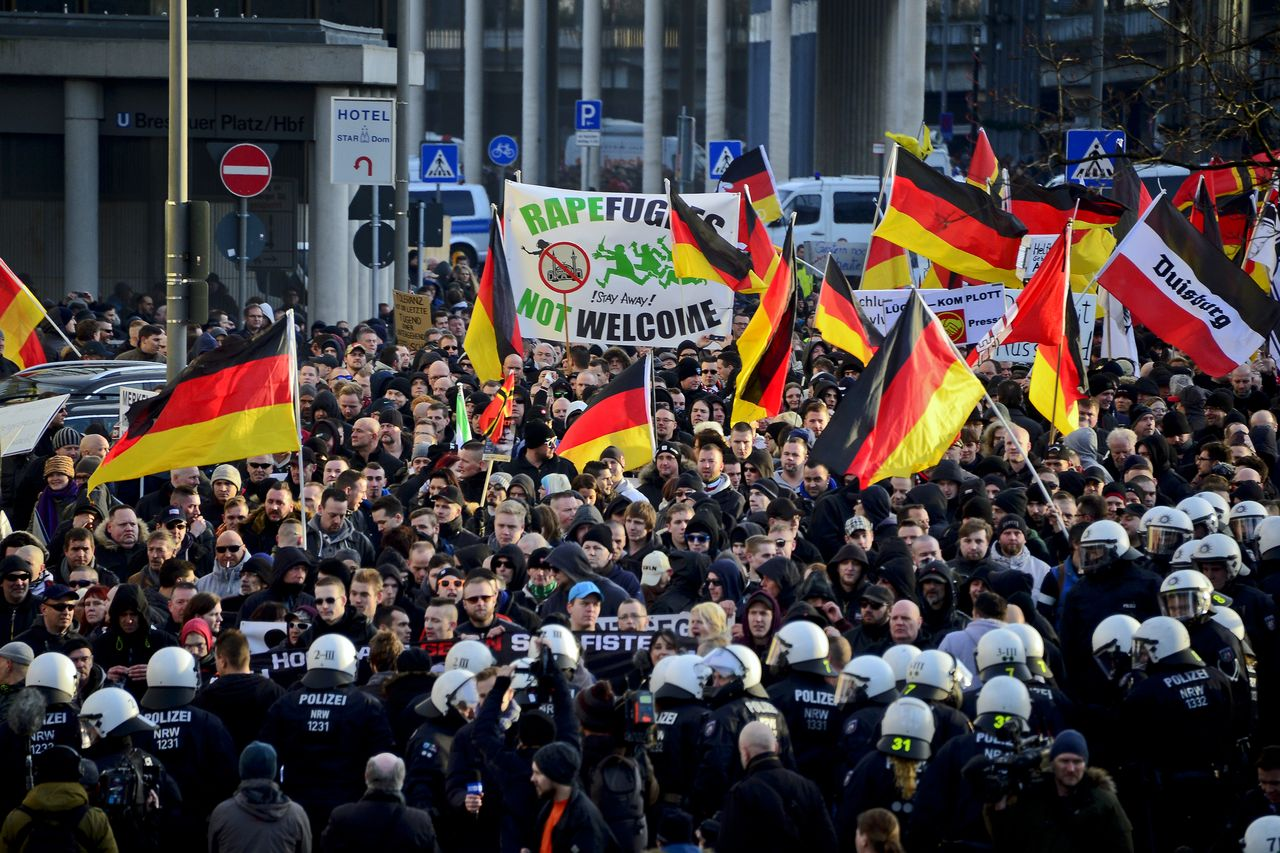 An anti-immigrant rally in Cologne, Germany. (Sascha Schuermann/Getty Images)
