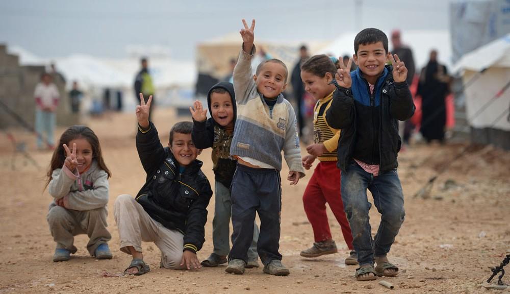 Syrian refugees at a Lebanese refugee camp.