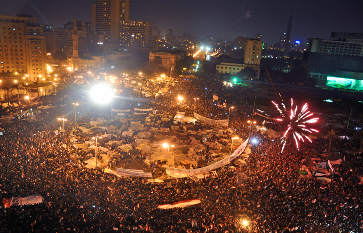 Celebrating the announcement of Hosni Mubarak's resignation in Tahrir Square on February 11, 2011. Photo: Jonathan Rashad