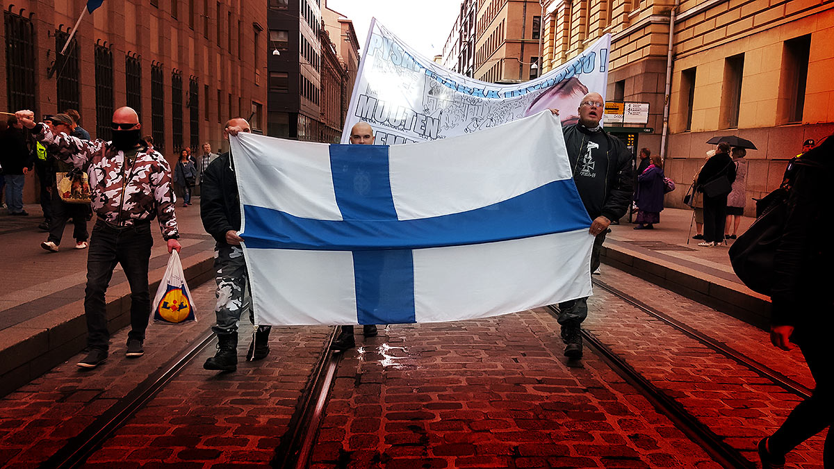 An anti-refugee protest in Finland.