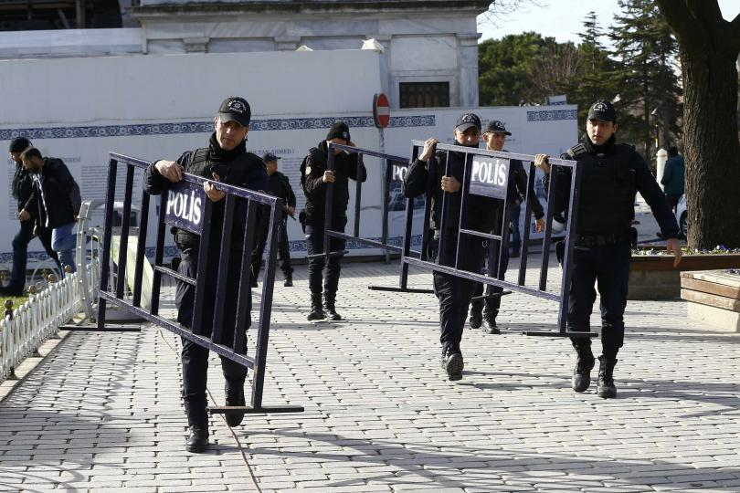 Turkish police at the Sultanahmet district following an explosion that rocked Central Turkey. Credit: Osman Orsal/ Reuters