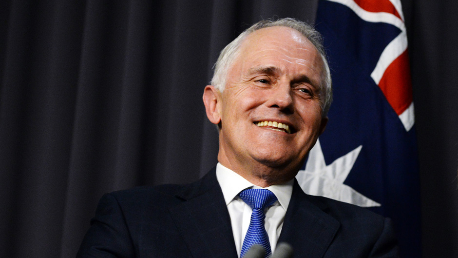 Australian Prime Minister designate Malcolm Turnbull with Deputy Prime Minister designate Julie Bishop during a press conference in the Blue Room, after winning the Australian Federal leadership in a party ballot vote, at Parliament House in Canberra, Monday, Sept. 14, 2015. (AAP Image/Sam Mooy) NO ARCHIVING