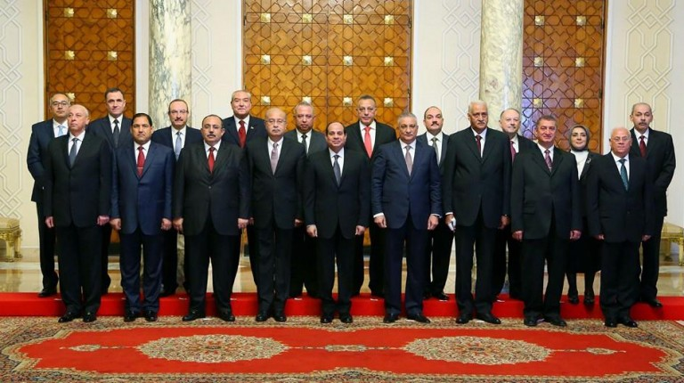 President al-Sisi with the 11 governors who were sworn in in December, 2015