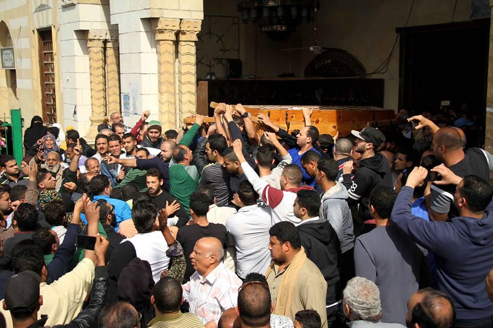 The funeral of a young Egyptian man killed in al-Darb al-Ahmar district in Cairo on Feb. 19, 2016. ASWAT MASRIYA - Mousa al-Zarif