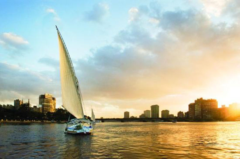 Felucca 3-The traditional felucca boats on the surface of the magnificent Nile river copy