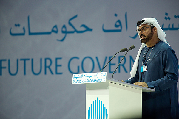 His Excellency Mohammed Abdullah Al Gergawi, Minister of Cabinet Affairs and Chairman of the Organizing Committee of the World Government Summit, delivering the opening address at the fourth edition of the World Government Summit. Photo: World Government Summit