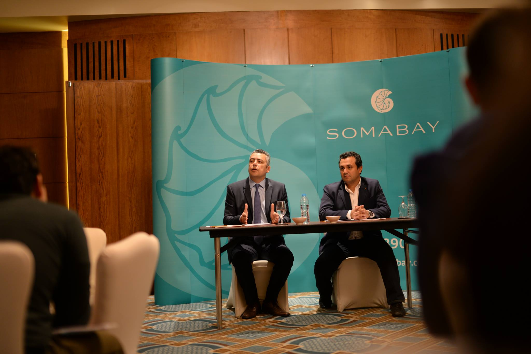 Khaled Mostafa and Ibrahim El Missiri at a roundtable announcing the launch of Global EEE in Egypt