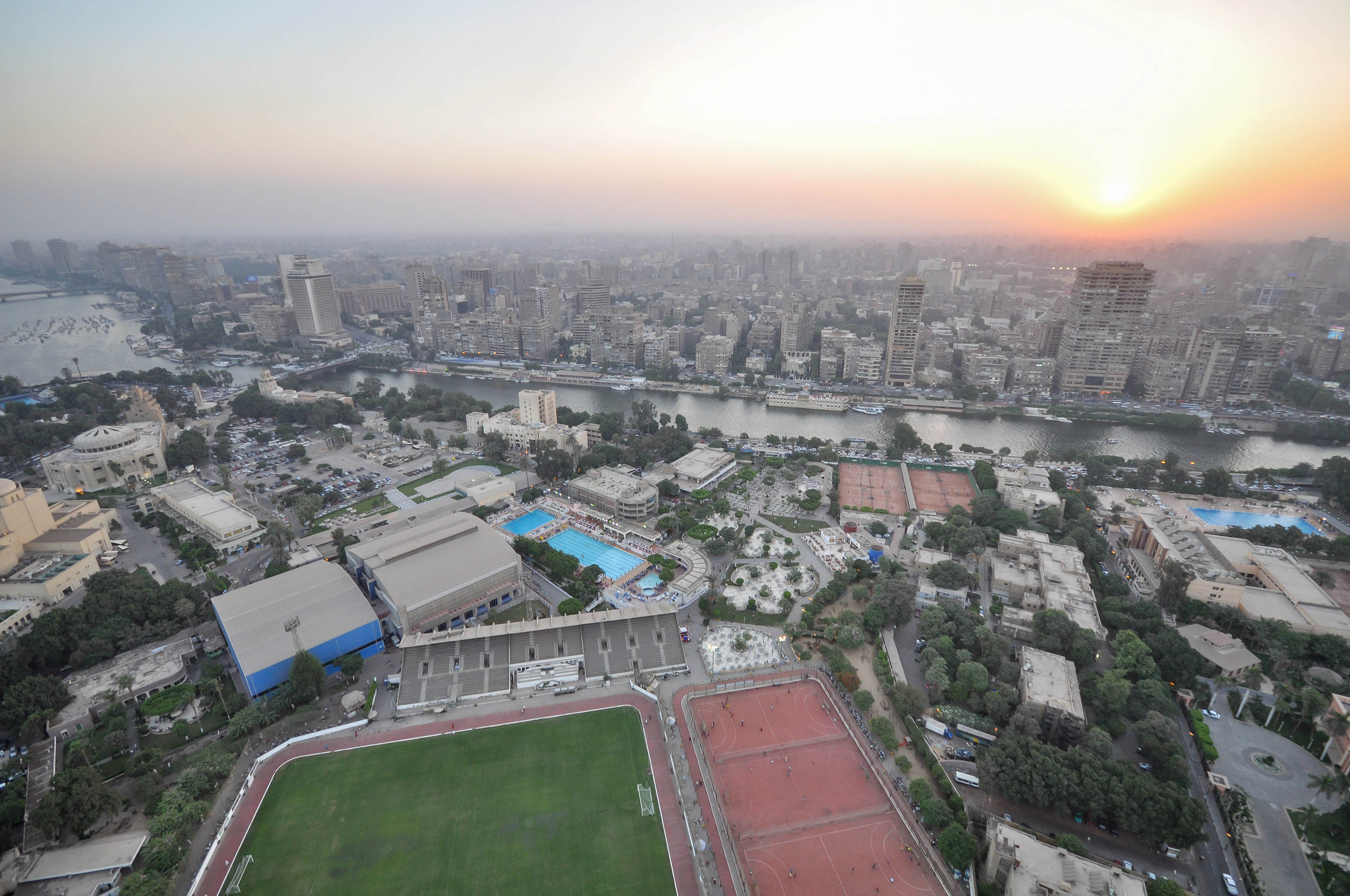 An aerial view of the Gezira Sporting Club. Photo: Jorge Láscar, via Flickr