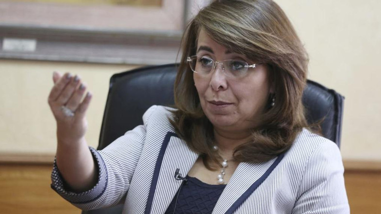 Egyptian Minister of Social Solidarity Ghada Wali talks during an interview with Reuters at her office in Cairo, Oct. 20, 2014. Photo: Reuters