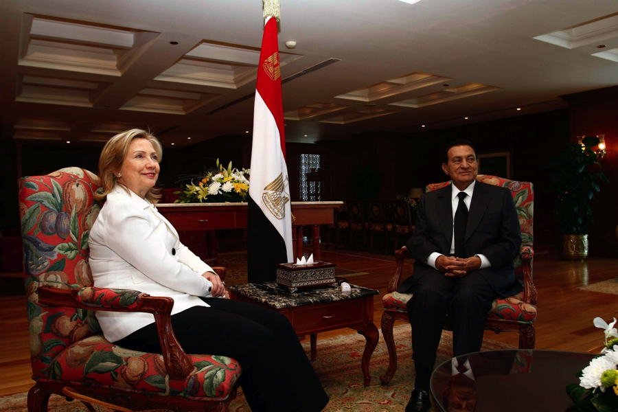 Then-US Secretary of State Hillary Rodham Clinton meets with Egyptian President Hosni Mubarak in Sharm El-Sheikh, Egypt, on September 14, 2010. [State Department. Photo/ Public Domain