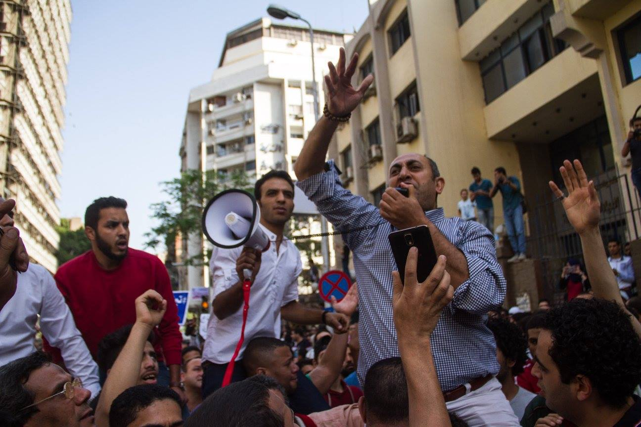 Protesters gather to demonstrate Egypt's decision to declare two Red Sea islands as Saudi Arabian. Khaled Ali, pictured, brought a case to the Administrative Court against the decision. Credit: Belal Darder