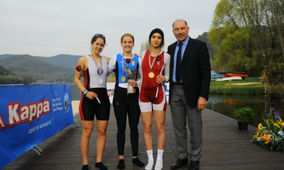 Nadia Negm (left) came second in the single scull event.